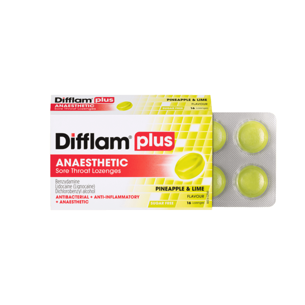 Difflam Plus Anaesthetic Sore Throat Lozenges Pineapple & Lime Flavour