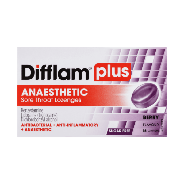 Difflam Plus Anaesthetic Sore Throat Lozenges Berry Flavour